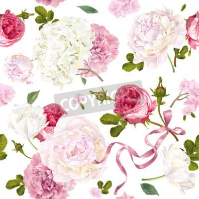 Fototapete Romantic garden flowers pattern