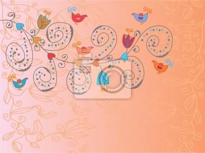 Romantic Valentine Hintergrund mit Blumen und Vögeln