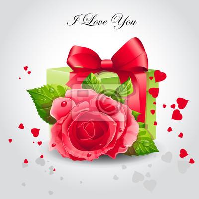 Romantik Banner mit einer roten Rose