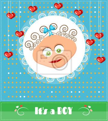 Baby Shower Karte Text.Fototapete Romantisch Lustig Gepunktet Blau Baby Shower Karte Mit Text