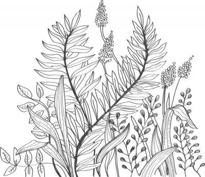 Fototapete Romantische doodle Hintergrund Blume