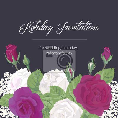 Fototapete Romantische Grußkarte Urlaub Einladung Zur Hochzeit, Geburtstag,  Valentinstag, Mütter Tag, Vektor