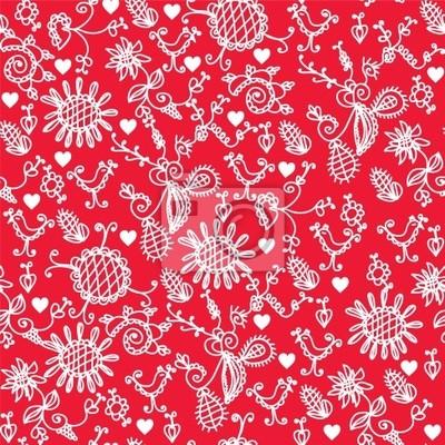 Romantische rote nahtlose Muster mit Herzen