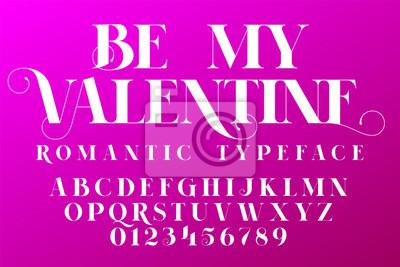 Fototapete Romantische Schrift. Valentinstag Einladung Schriftart
