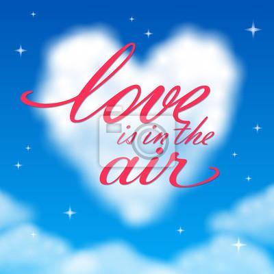 Romantische Valentinstag Hintergrund mit einem Herzen geformt Wolke