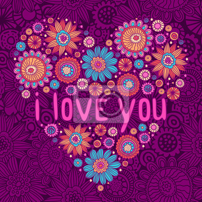 Romantische Valentinstag-Karte mit floralen Doodles Herzen