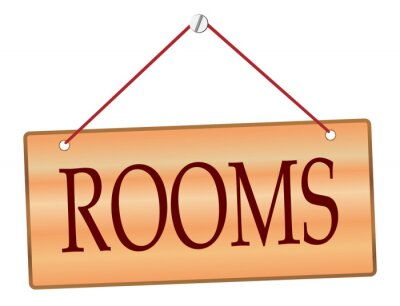 Rooms Sign In Wood With String