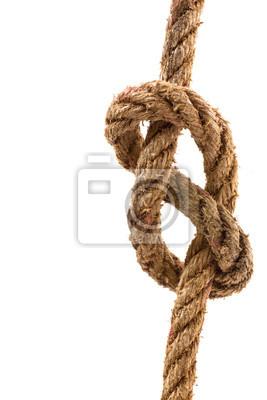 Rope Knoten auf weißem Hintergrund.