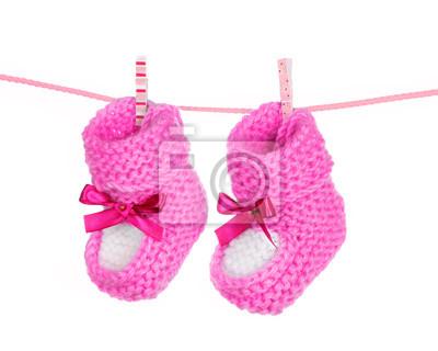 rosa Baby Booties blau auf weiß isoliert