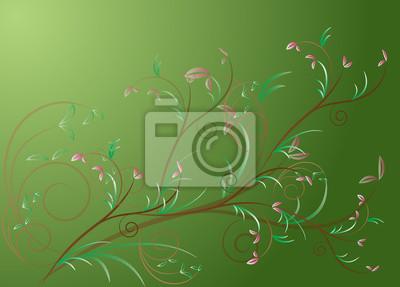 Rosa Blume auf grünem Hintergrund