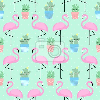 Fototapete Rosa Flamingo mit Kaktus in niedlichen Töpfe nahtlose Muster auf Polka Dots Hintergrund.