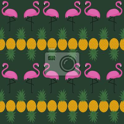 Fototapete Rosa Flamingo nahtlose Muster mit Ananas auf dunkelgrünem Hintergrund. Sommer Vektor-Hintergrund-Design für Textil-, Web-, Stoff-und Dekor.