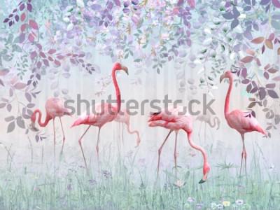 Fototapete Rosa Flamingos in einem zarten Garten in einem türkisfarbenen Nebel. Wandbild und Hintergrundbilder für den Innendruck.