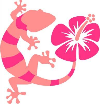 Fototapete Rosa Gecko mit Hibiskus