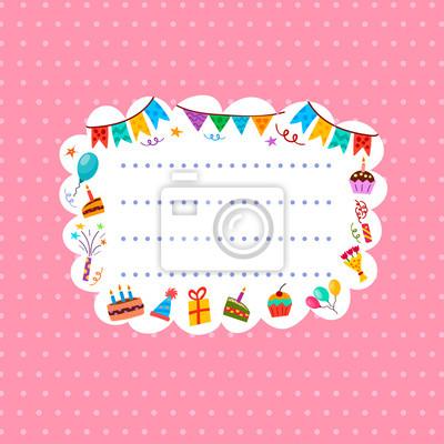 Rosa Gruß- oder Einladungskarte. Abbildung