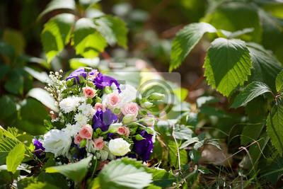 Rosa Hochzeitsstrauss Mit Rosen Und Orchideen Fototapete