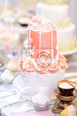 Rosa Hochzeitstorte Mit Zucker Blumen Verziert Fototapete