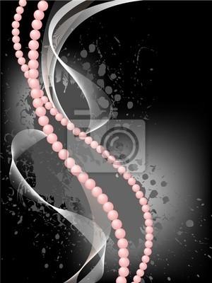 Fototapete rosa Perlen mit einem Schleier auf einem schwarzen Hintergrund gebeizt