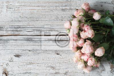 Rosa Rosen Auf Vintage Holz Hintergrund Floral Frame Hintergrund