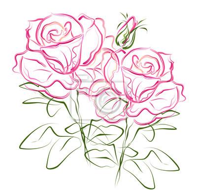 rosa rosen hand gezeichnet stilisierte farbe vektor pinsel skizze fototapete fototapeten. Black Bedroom Furniture Sets. Home Design Ideas