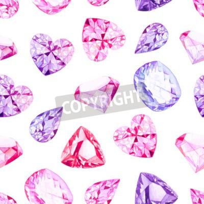 Fototapete Rosa und Violett-Diamant-Kristalle Aquarell nahtlose Vektor-Muster
