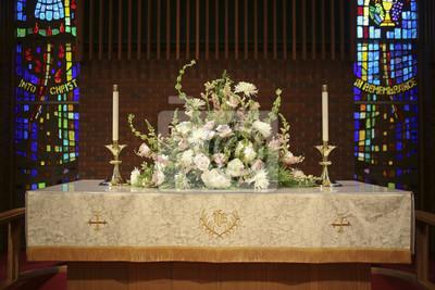 Rosa Weisse Und Grune Kirche Hochzeit Altar Blumen Fototapete