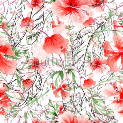 Fototapete Rosafarbenes Blumenmuster der Wildblume in einer Aquarellart. Vollständiger Name der Pflanze: Rose, Rosa, Hulthemia. Wilde Blume des Aquarells für Hintergrund, Beschaffenheit, Verpackungsmuster, Rahme