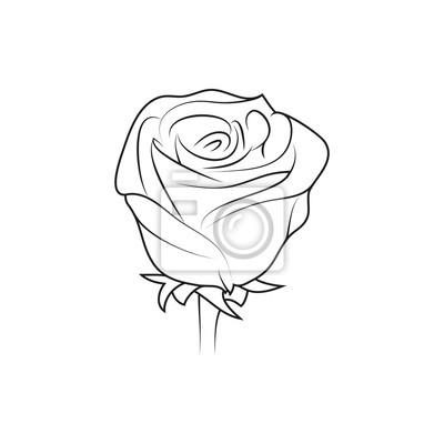 rose blume einfache schwarze gezeichnete ikone auf wei em hintergrund fototapete fototapeten. Black Bedroom Furniture Sets. Home Design Ideas