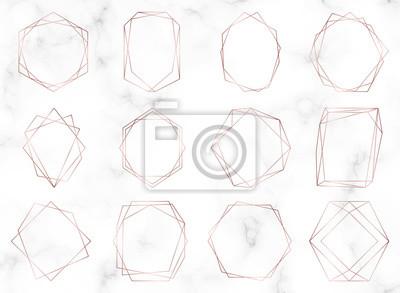 Fototapete Rose gold geometric polygonal frames. Decorative lines borders. Luxury design elements for wedding invitation, blog posts, banner, celebration, card, save the date, poster, flyer