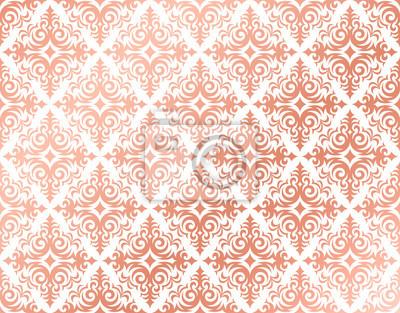 Rose Gold Hintergrund In Einem Damast Muster Design Rosa Und