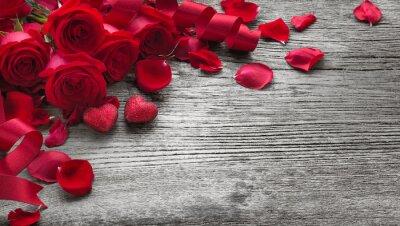 Fototapete Rosen auf Holzbrett