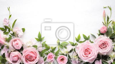 Fototapete Rosen-Blume mit Blattrahmen