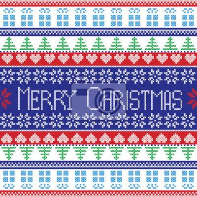 Rot, blau, grün und weiß frohe weihnachten-muster mit dekorativen ...
