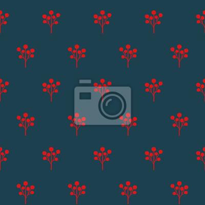 Fototapete Rote Beeren nahtlose Muster. Einfache Natur Hintergrund. Weihnachtsartabbildung. Netter Entwurf für Gewebe, Tapete, Gewebe.