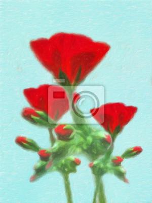 Rote Blume / Impression Ölgemälde-Fotoeffekt