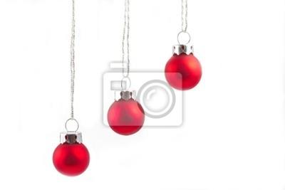 Rote Christbaumkugeln.Fototapete Rote Christbaumkugeln Hangend