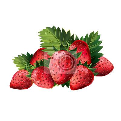 Rote Erdbeeren Mit Blättern