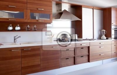 Rote holz küche weiß küchenbank fototapete • fototapeten Laminat ...