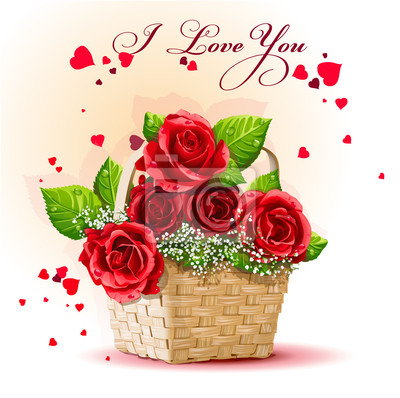 Rote Rosen in einem Korb