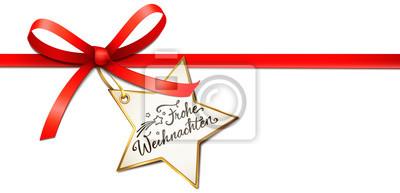 Stern Frohe Weihnachten.Fototapete Rote Schleife Mit Stern Etikett Frohe Weihnachten