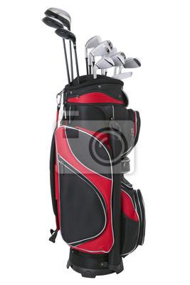 Rote und schwarze Golfbag mit Clubs isoliert auf weiß