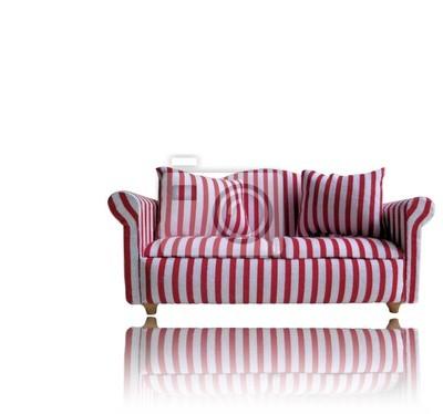 Fototapete Rote Und Weiße Streifen Sofa Mit Reflexion