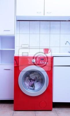 Rote waschmaschine in weißer küche fototapete • fototapeten ...