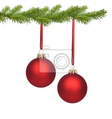 Große Rote Christbaumkugeln.Fototapete Rote Weihnachtskugeln Am Tannenzweig