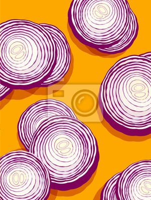 rote Zwiebeln auf orange Hintergrund