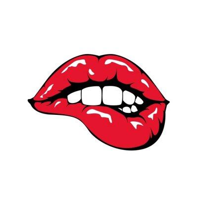 Fototapete Roten Lippen beißen Symbol auf weißem Hintergrund.