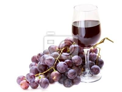 Fototapete roten Trauben mit einem Glas Wein