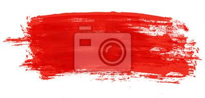 Fototapete Roter Anschlag des Aquarellpinsels lokalisiert auf Weiß