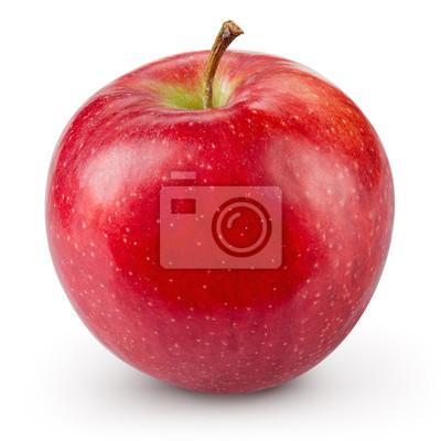 Fototapete Roter Apfel isoliert auf weißem Hintergrund. Frische rohe Bio-Früchte.