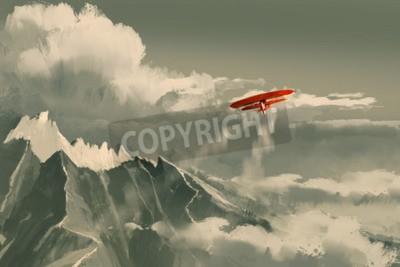Fototapete Roter Doppeldecker fliegen über Berg, Illustration, digitale Malerei